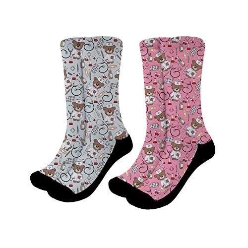 Showudesigns Damen Herren Arbeitssocken Sportsocken Socks Lässige Crew Socken Karikatur Krankenschwester Bär-2 Stücke - 3 Stück Office