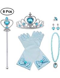 Vicloon Princesse Dress Up Accessoires,Elsa Cadeau Set pour Costume d'Elsa la Reine des Neiges -Gants/Diadème/Baguette Magique/Bague/Boucles d'oreilles/Collier Cosplay Carnaval 3-8 Ans