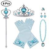 Vicloon Costumi da Principessa Set di 8 Pezzi Dono da Tiara,Guanti,Bacchetta Magica, Anello, Orecchino,Collana da 3 a 9 Anni (Blu)