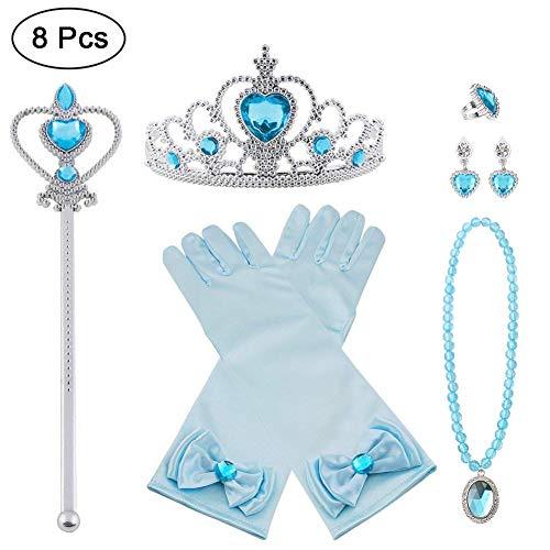Vicloon Princesa Vestir Accesorios, 8 Pcs Azul Elsa Princesa Accesorios de disfraces, Regalo Conjunto de Belleza - Corona Anillo Sceptre Collar Pendientes Guantes para Niña