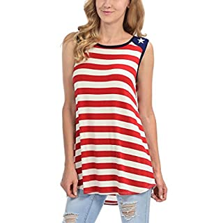 Women's American Flag Tank Tops Shirt Sleeveless Loose Fit Camisole Tunic Vest (XL)