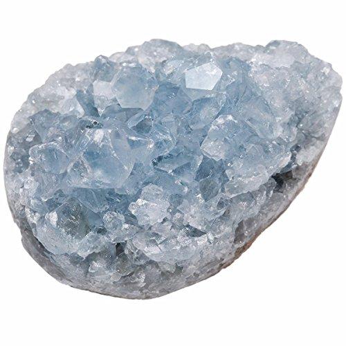 mookaitedecor Natürlicher Celestite Kristall Mineral Rohstück klein Edelstein Druse Quarz Dekoration Schmückung für Familie & Büro (160-220g)