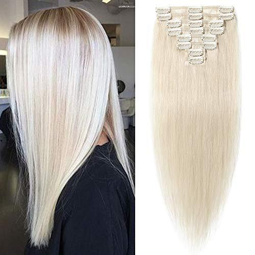 """TESS Extensions Echthaar Clip in Platinblond #70 Remy Haar Extensions guenstig Haarverlängerung 18 Clips 8 Tressen Lang Glatt, 24""""(60cm)-80g"""