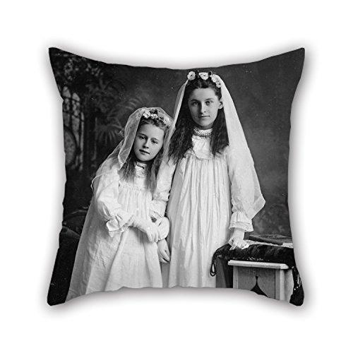 Der Ölgemälde George Gregory–Portrait von zwei Mädchen Kissen von 50,8x 50,8cm/50von 50cm Dekoration Geschenk für ihn Betten Wohnzimmer Geburtstag Auto Home (doppelte Seiten) (Karte Der Vers)