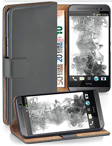 moex® Booklet mit Flip Funktion [360 Grad Voll-Schutz] für HTC One M8 | Geldfach und Kartenfach + Stand-Funktion und Magnet-Verschluss, Dunkel-Grau