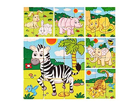 DreamFlying 9 Piece Wooden Jigsaw Cube Puzzle Toy - Forest