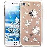 iPhone 8 Hülle,iPhone 7 Hülle,ikasus Durchsichtig mit Xmas Christmas Snowflake Weißen Weihnachten Schneeflocke Hirsch Muster Klar TPU Silikon Handyhülle Schutzhülle,WeißenSchneeflocke