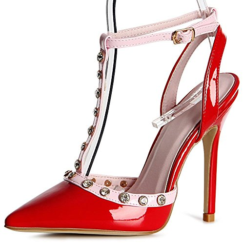 topschuhe24 1117 Damen Riemchen Pumps T-Stripe Spitz, Farbe:Rot;Größe:37