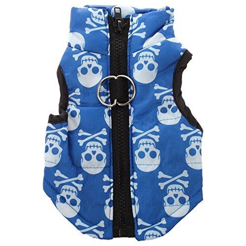 Kleidung - SODIAL(R)Kleidung fuer die Winterbettdecke Hund Katze Warm Padded Jacket Harness, Blau L