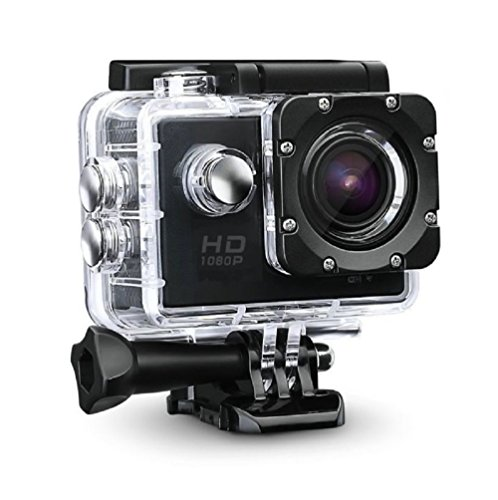 Rewy M-201 1080p Waterproof Camera With Micro Sd Card Slot & Multi Language Action 12MP Camera 2''inch LCD Compatible With All Android/IOS Devices