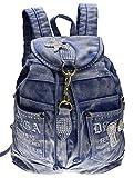 SAIERLONG Frauen und Mädchen Rucksack Schultasche Reisetasche Blau jean