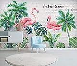 Papier Peint 3D Forêt Tropicale Humide Feuille De Bananier Jardin De Flamants Roses Moderne Intissé Décoration Murale