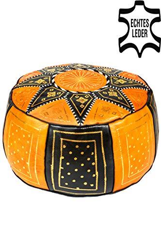 Orientalischer runder Pouf aus Leder ø 45cm Rund 30cm Hoch inklusive Füllung | Marokkanisches...