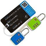 Kofferschloss 2er Set TSA-zertifizert mit Kofferanhänger – 2er Pack Gepäckschloss/Nummernschloss/Zahlenschloss plus Gepäckanhänger (Grün-Blau)