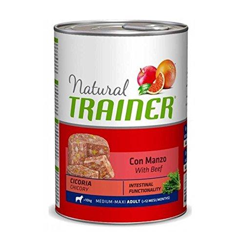 Umido per cani Natural Trainer Adult Medium con Manzo e Cicoria - 12 x 400 Gr- Promo quantità
