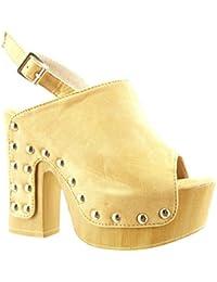 Angkorly Chaussure Mode Sabot Sandale Plateforme Femme Clouté Bois Talon  Haut Bloc 12.5 cm 6b36c0fb2453