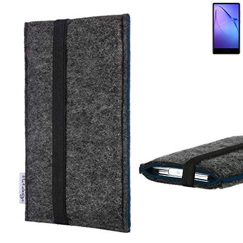 flat.design Handyhülle Lagoa für Leagoo KIICA Mix   Farbe: anthrazit/blau   Smartphone-Tasche aus Filz   Handy Schutzhülle  Handytasche Made in Germany