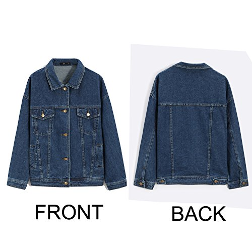 Sharewin weit geschnittene Damen-Jeansjacke im Boyfriend-Stil, langärmlig, blau, robust, ausgewaschen, Taschen und Knöpfe Gr. Large, blau - 5
