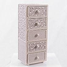 Mini cajonera de apoyo MDF (media densidad) revestida de tela Shabby Chic 12x 10 x 30 cm