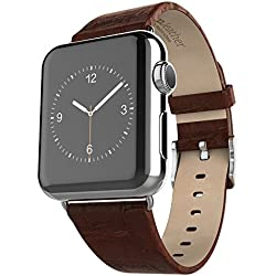 TIODIO Apple Watch Band, HOCO Bamboo Joints Texture Series Genuine Leather Strap Wrist Band Replacement iWatch Band for Apple Watch (38mm Brown)