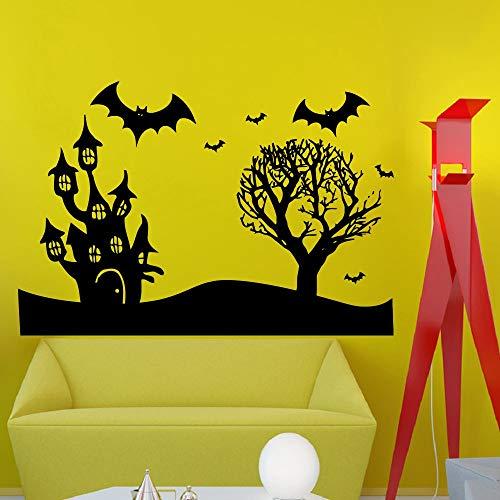 wandaufkleber wohnzimmer Halloween Flying Bats Castle Wall Vinyl Decal Sticker Wall Decor Home Interior Design Art Mural
