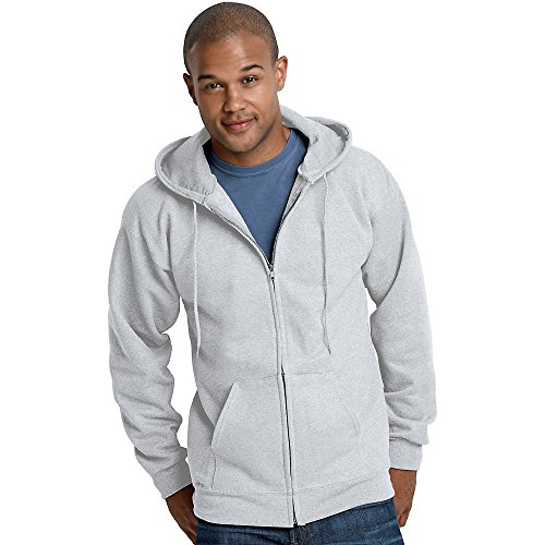 Mens Ash Light Full Hoodie Steel Hanes Zipper f7wqzxU
