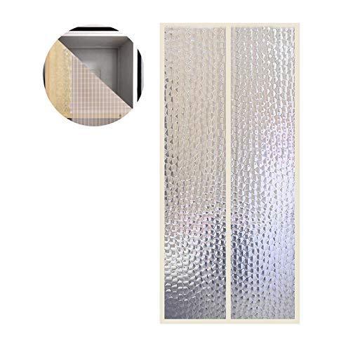 Liveinu Wärmeschutzvorhang Magnet Thermo Türvorhang Fliegengitter Panel-Isolierung Thermovorhang Wasserdicht Winddicht Klimaanlage Fliegenvorhang für Balkontür Wohnzimmer Gelb 140x220cm (Gelb-vorhang-panels Und Grau)