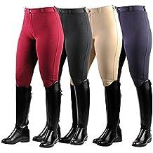 Saxon Adultas Mujer Caballo Pantalones Montar **Todos Los Colores & Tallas** (rojo vino, 42eu)