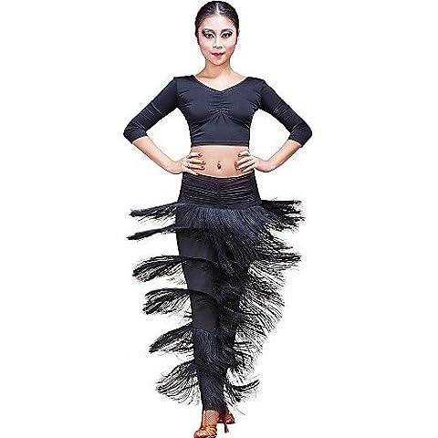 ZY viscosa de Dancewear de baile Danza del Vientre con flecos/Parte Inferior de baile, black-m