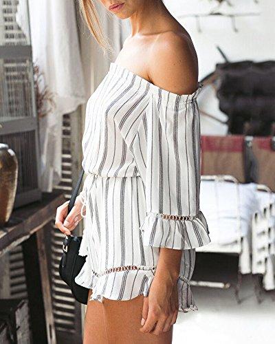 Femme 3/4 Manches Combinaison Sans Bretelles Combishort Rayé Jumpsuit Plage Playsuit Rompers Comme image