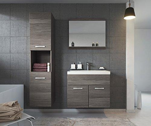 Badezimmer Badmöbel Set Montreal 60 cm Waschbecken Bodega - Unterschrank Hochschrank Waschtisch Möbel