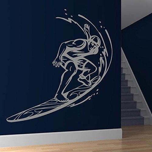 azutura Surfbrett Wellen Wandaufkleber Surfen Wandtattoo Kinder Schlafzimmer Haus Dekor verfügbar in 5 Größen und 25 Farben Mittel Weiß (Surfen Schlafzimmer)