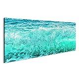 islandburner Bild Bilder auf Leinwand Große Blaue Welle auf stürmischem Meer Klimakonzept Natur Hintergrund Vorderansicht Wandbild, Poster, Leinwandbild HKX