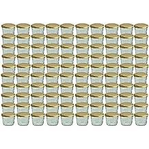 Set da 100barattoli in vetro da 230ml per marmellate e conserve vetro coperchio avvitabile dorato, 82mm