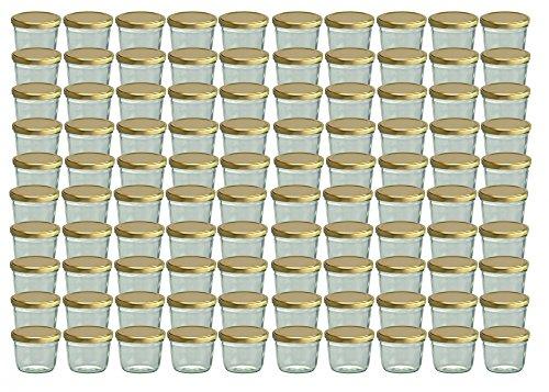 100er Set Sturzglas 230 ml Marmeladenglas Einmachglas Einweckglas To 82 gold farbiger Deckel