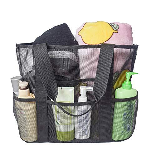 Große Mesh-Strand-Einkaufstasche Schwarz Sand Spielzeug Aufbewahrungstasche mit übergroßen Taschen Umhängetasche für Familienurlaub am Strand