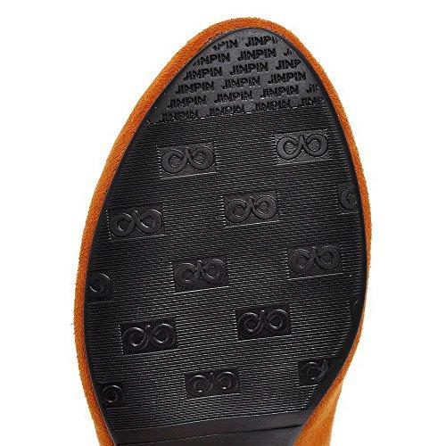 VogueZone009 Femme Dépolissement à Talon Correct Tire Rond Chaussures Légeres Couleur de Chameau