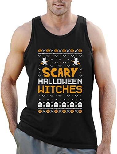 Scary Halloween Witches - Im Ugly X-Mas Style Tank Top Large Schwarz (Günstige Scary Halloween Kostüme Ideen)