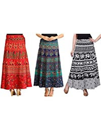 7c49a476a2 MRV MACY FASHION Women's Cotton Pack Of 3 Long Skirts (MRV MACY _Blue-White