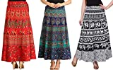#3: MRV MACY FASHION Women's Cotton Pack Of 3 Long Skirts (MRV MACY _Blue-White-Red_ Free Size)