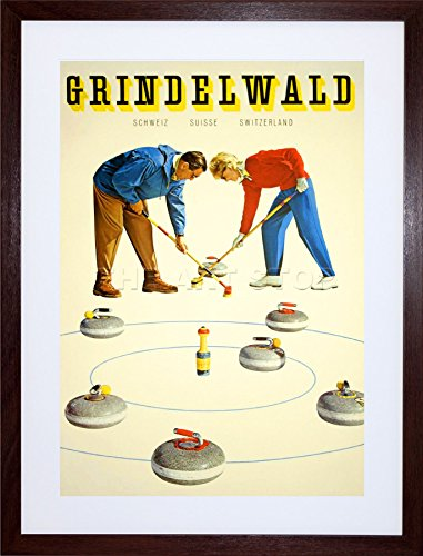 WINTER SPORT CURLING GRINDELWALD SWITZERLAND FRAMED ART PRINT PICTURE F12X1475