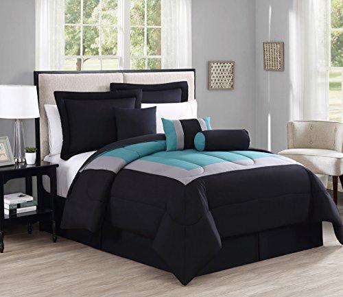 11-teiliges Rosslyn-Schwarz/Blaugrün Bed in a Bag w/500TC Baumwolle-Bettlaken-Set, Polyester, Schwarz / Blaugrün, King Size (Bett In Einem Beutel-ensembles)