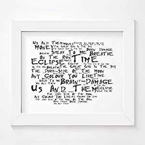 Pink Floyd - The Dark Side of the Moon - Signed & Numbered Limited Edition Typography Wall Art Print - Song Lyrics Mini Poster