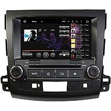 """tltek® Sistema de navegación GPS para coche para Mitsubishi Outlander 20072008200920102011201220138""""HD 1024* 600Pantalla multitáctil Quad Core Android 4.4reproductor de DVD + Bluetooth + WiFi + SWC + Copia de seguridad Mapa de la cámara + eu"""