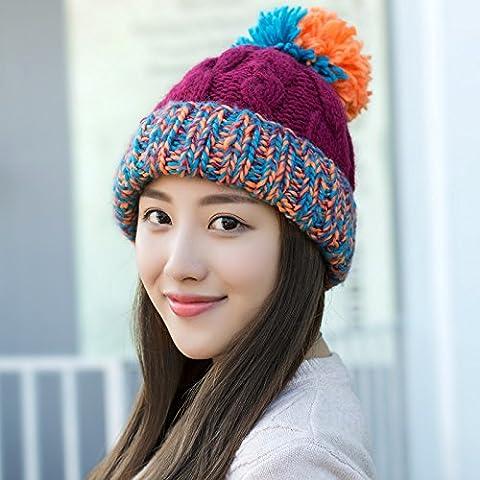 YangR*Invierno niños Caps brutas con color tapa scurf marea Corea Sra. Qiu hechizo encantador invierno cálido color knitting hat , vino rojo