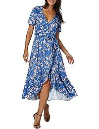 Mode Damen Kleid,Damen Schulterfrei Strand Spielanzug Boho Blumendruck Party  Kleid Große Größen Sommerkleid Maxikleid Abendkleid… 933d6256bd