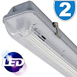 2x LED Low Energy Saving 4ft IP65 Complete Tube and Fitting Single Strip Light batten 18 = 36W 1200mm Fitting Cool White Outdoor Indoor IP65