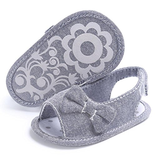 Culater® I pattini di prewalker della culla della scarpa da bowknot solare del bambino appena nato della ragazza del bambino Grigio