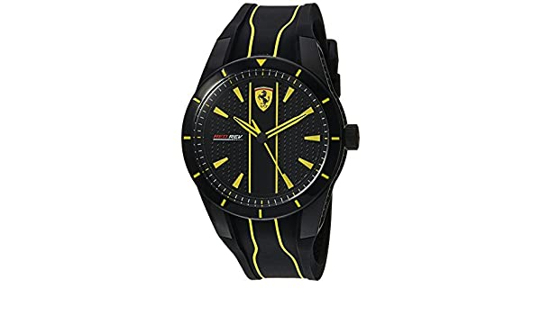Ferrari Men s  Red Rev  Quartz Stainless Steel and Silicone Casual Watch 39c0603d93