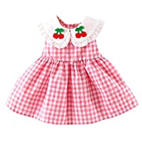 Axong 0M-2Y Baby Girl Plaid Doll Collar Embroidery Fruit Print Ruffle Hem Tutu Princess Dress Red
